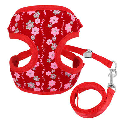 Mesh Padded Cat Walking Jacket Harness & Lead Sequins Adjustable for Pet Puppy