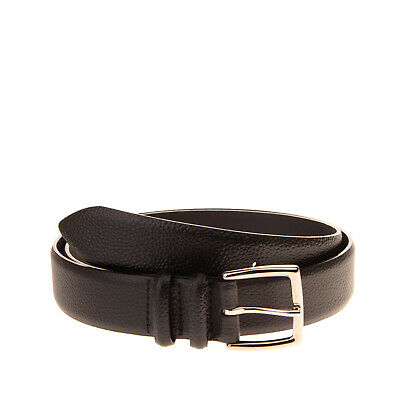 ORCIANI Leather Belt Size 100 / 40 Black Grainy Panel Pin Buckle Made in Italy