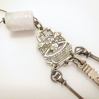 19th Century Chinese Chatelaine Sterling Silver Opium Tools