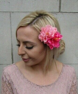 Double Dusky Pink Hot Pink Peony Flower Hair Clip Floral Fascinator Rose 0153