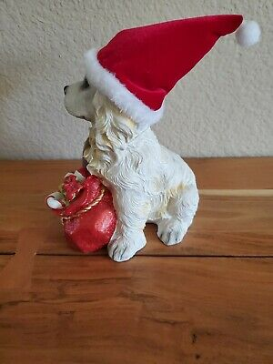 Cocker Spaniel Dog with Red Hat and bag of gifts!  Porcelain Christmas Ornament