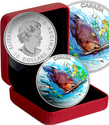 2017 Canada $10 Dollars 9999 Silver Color Coin The Beaver Iconic Canada
