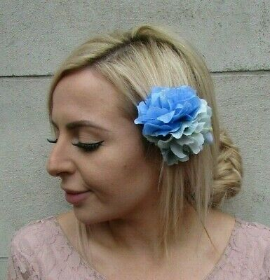 Double Mint Green Light Blue Peony Flower Hair Clip Floral Fascinator Rose 0163