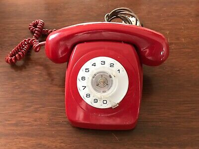 Retro vintage  1970's  Red Rotary Dial Phone