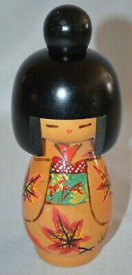 "Japanese Kokeshi Wood 6.5"" Doll Maple Leaves Kimono Geisha Stamped Bottom"