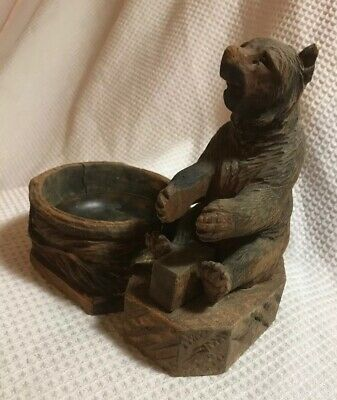 Antique Black Forest Bear Form Smoking Stand Ashtray Carved Wood