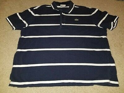 Lacoste Mens Navy Blue Striped White Short Sleeve Polo Shirt Size 5 Large Used