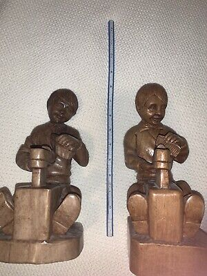 Vintage Hand Carved Wooden Boys Shoe Shiners Matching Set 2 Bookends Toes 8 In