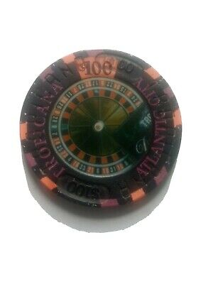TROPICANA HOTEL CASINO $100 casino gaming poker chip, 4th Is ~ Atlantic City, NJ