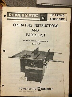 "powermatic model 68 tablesaw manual vintage parts list 12"" tilting"