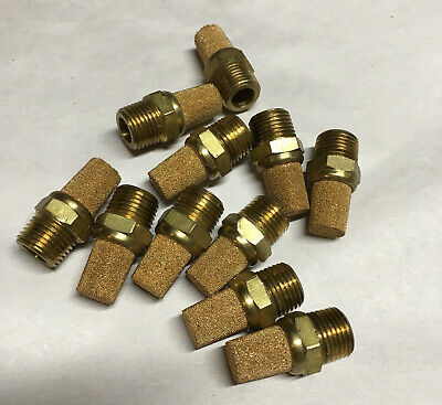 "1/8"" npt bronze sintered silencer muffler filter brass base (qty 10)"