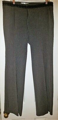 NWOT Old Navy Black Gray Pinstripe Wide/Straight Leg Career Stretch Pants Sz 12