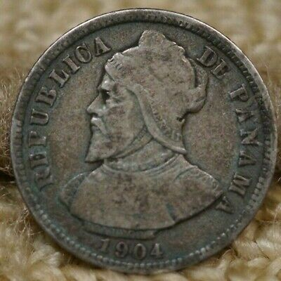 1904 Panama 10 Centesimos AVF Condition