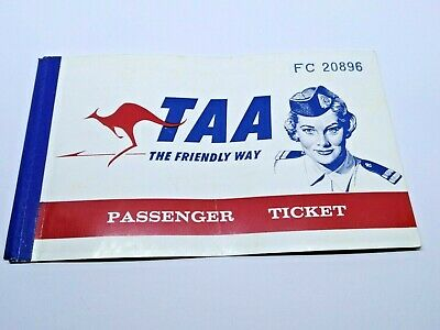 TAA TRANS AUSTRALIA AIRLINES TICKET 1960's