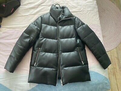 Ena Pelly Leather Puffer Jacket Coat Size Small