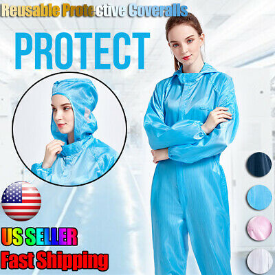 Reusable Coveralls Clothing Protective Hooded Overall Suit Splashproof Isolation