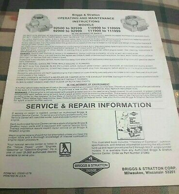 1979 Briggs And Stratton Engines Operating & Maintenance Instruction Manual