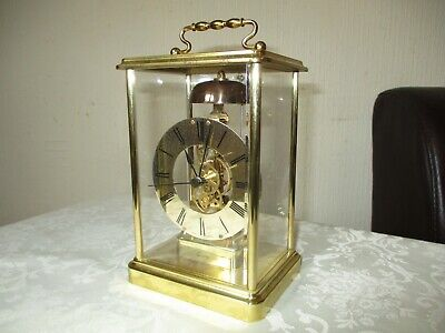 Vintage Franz Hermle Bell Striking Skeleton Carriage Clock ( Working )