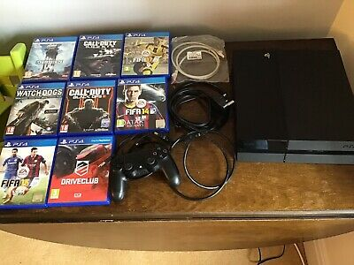Sony PlayStation 4 500GB Console - Jet Black - Fully Working With 8 Games