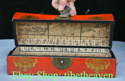 "12"" Old Chinese Red lacquerware Wood Palace Flower Bird Peach Jewelry Box"