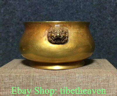 """4"""" Marked Old China Copper Gold Dynasty Palace Lion Ear Incense Burners"""