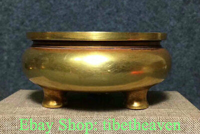 """3.2"""" Marked Old China Copper Gold Dynasty Palace 3 Feet Incense Burners Censer"""