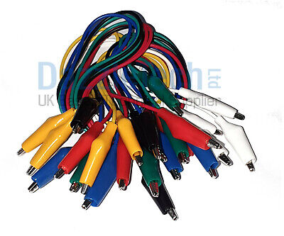 Crocodile/Aligator Test Leads/Clamps Wire With Clips Coloured Cable Wire x 12