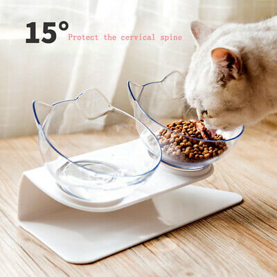 Cat Ears Shaped Pet Feeder Tilted Transparent Bowl 15° Tilted Protect The Spine