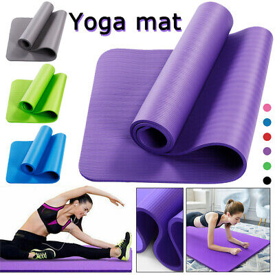 10mm Yoga Mat Thick Non-Silp for Pilates Gym Exercise Carry Strap Fitness Mat