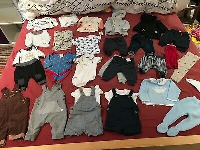 HUGE Baby Boys 0-3 Month Clothes Outfit Bundle - George, Primark, M&S, F&F,, Gap