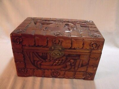 "Ornate Antique Chinese Hand Carved Camphorwood 12"" Dresser Box"