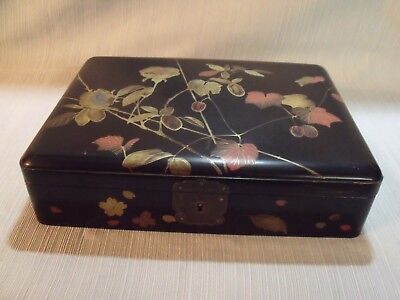 "Antique Chinoiserie Victorian 10"" Lacquered Dresser Box"