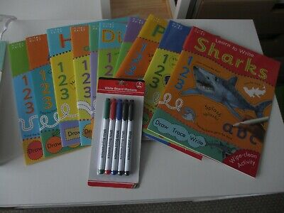 Children's Learn to Write Wipe and clean Activity Books x 10 Pens included *NEW*
