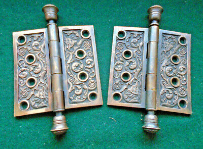 "Reading Hdw 'Columbian' Eastlake Bronze Hinge Set: 4"" X 4""  Circa 1890 (13170)"