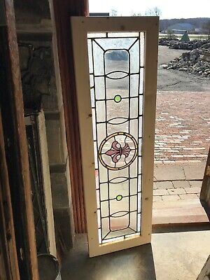 SG3233 Antique Stained Glass Transom Window 17 x 55