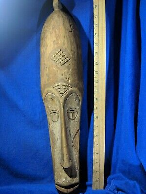 Very Tall African Mask — Excellent Detail — Authentic Carved African Wood Art