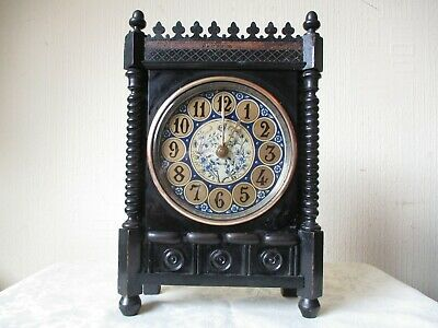 ANTIQUE 18th CENTURY EBONY MANTLE CLOCK  ( WORKING WITH SMITHS MOVEMENT  )