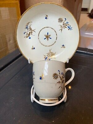 Antique 18th Century Caughley Gold And White Tea Cup And Saucer Dry Blue