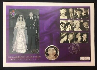 2007 Diamond Wedding Anniversary Silver Proof £5 Coin Cover