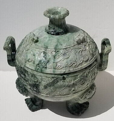 Large Heavy Chinese Jade or Hardstone Covered Bowl
