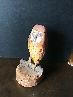 Carved Folk Art Owl By T. Richards , 96 Years Old 1983