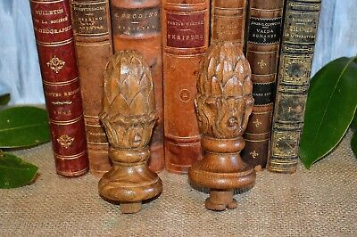 Antique Pair French Finials Carved Wood Artichoke Pinecone Post or Drapery