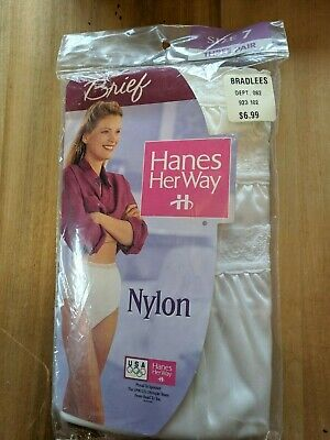 3 Pair Hanes Her Way nylon brief Granny Panty New in Package Size 7 1990s Lot 5