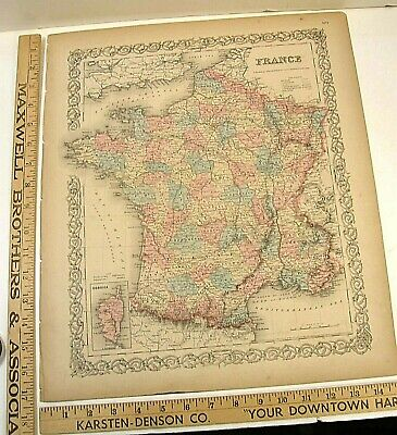 1859 Map Of France Antique Hand Color Engraving 1859 Colton's General Atlas