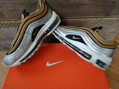 Nike Air Max 97 SE Trainers Size 4.5 Gold Silver White Grey Women's Girls Boys