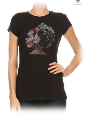 Women's Rhinestone Afro Girl T-Shirt with Head Phone-Sizes Small-2X-All New