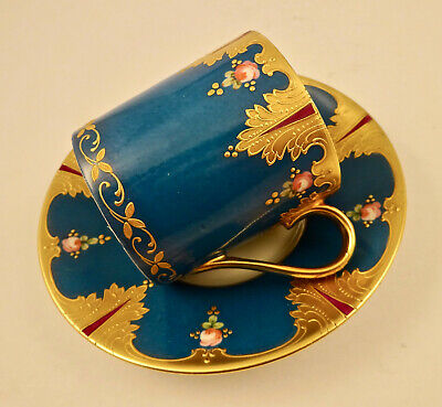 Antique Limoges Demitasse Cup & Saucer Turquoise & Gold