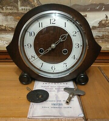 "Smiths Enfield: The ""Balmoral"" Model 8-Day Striking Mantel Clock -Serviced & GWO"