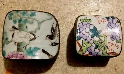 Set Of 2 Vintage Chinese Porcelain Chard On Metal Lid Silver Boxes