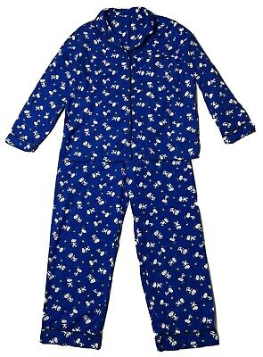 Vermont Country Store Womens Peanuts Snoopy Blue Cotton Broadcloth Pajamas Sz M